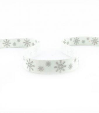 Стрічка з друком святкова сірі сніжинки 10 мм