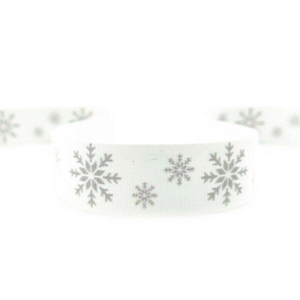 стрічка зі сніжинкою срібна