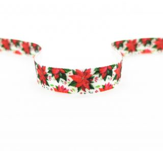 Стрічка з друком атласна новорічна 8147356/10 червоні квіти