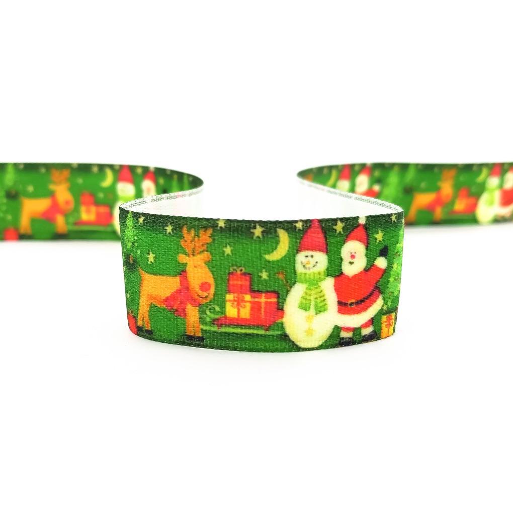 стрічка атласна різдво новорічна олень ялинка санта сніговик